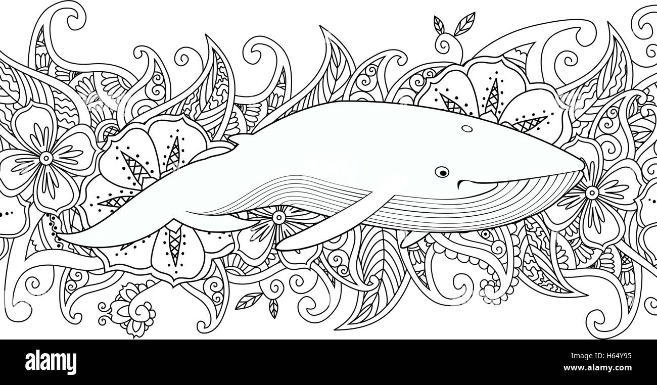 coloring page with whale in the sea on flower border background