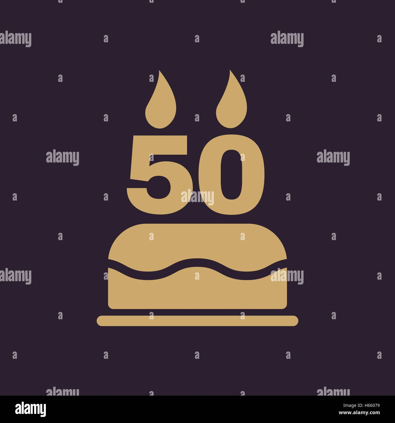 The Birthday Cake With Candles In The Form Of Number 50 Icon Stock