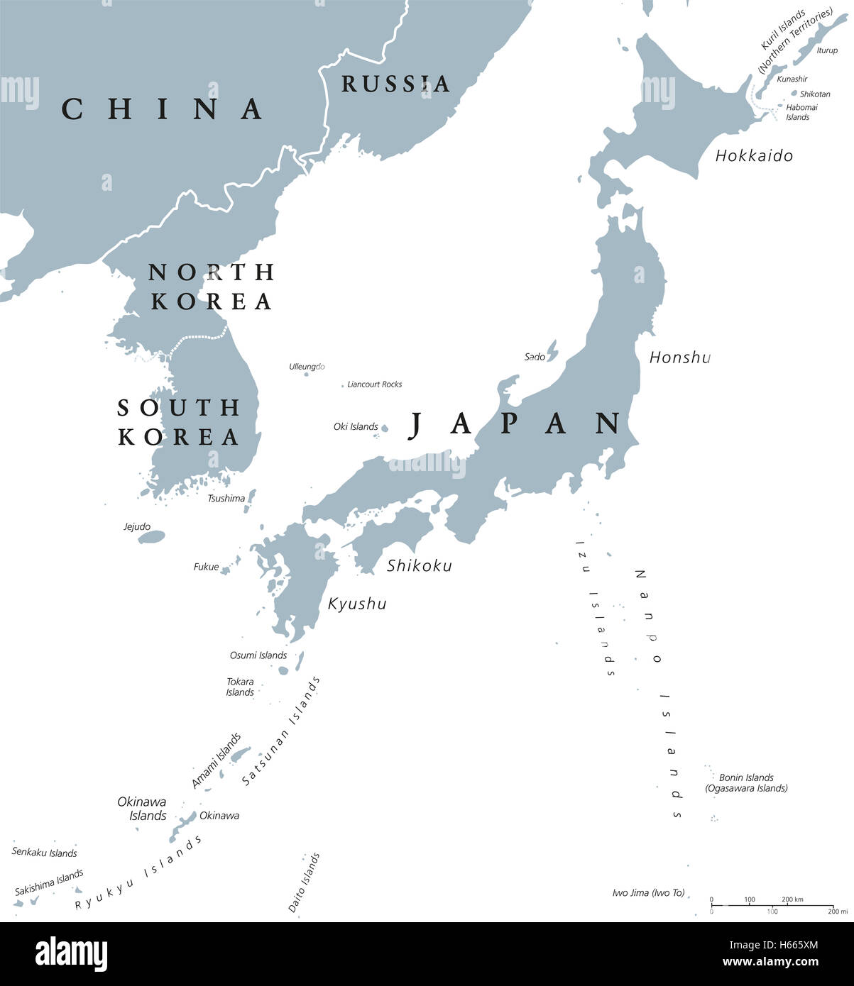 Korean peninsula and Japan countries political map with national