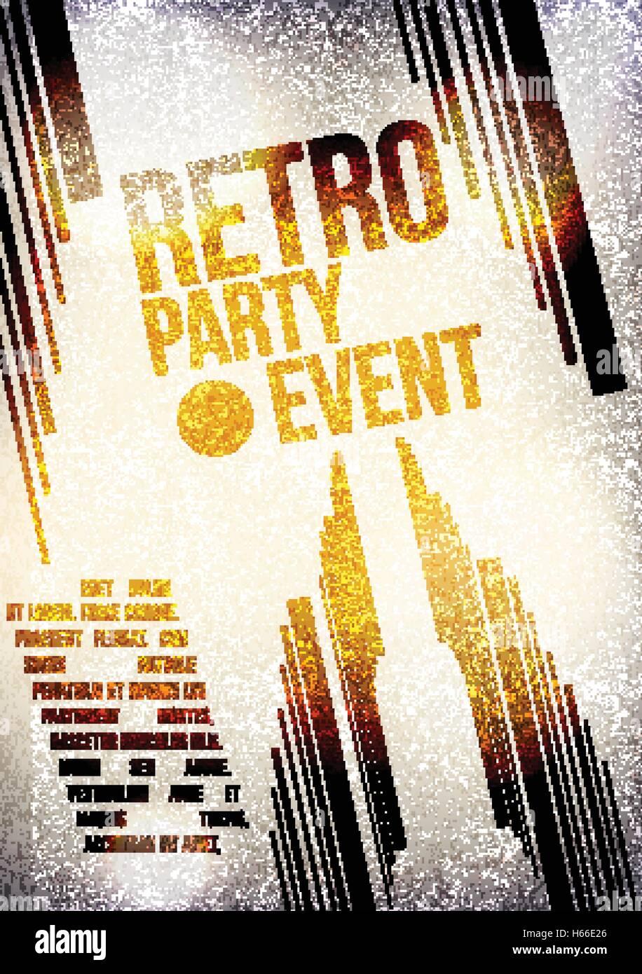 Poster design keywords - Retro Party Invitation Poster Design Vector Illustration