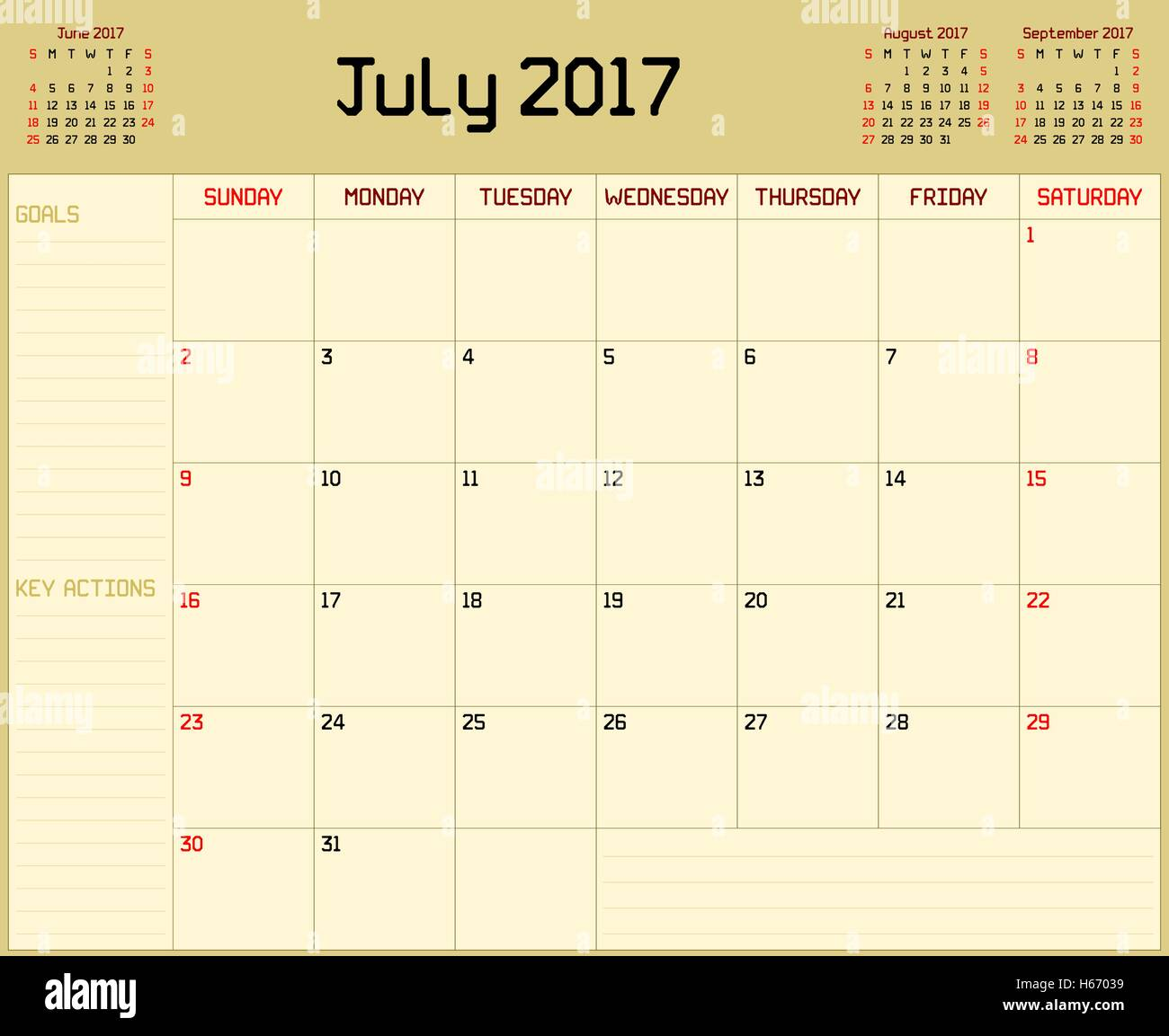 Monthly Calendar Background : A monthly planner calendar for july on yellow