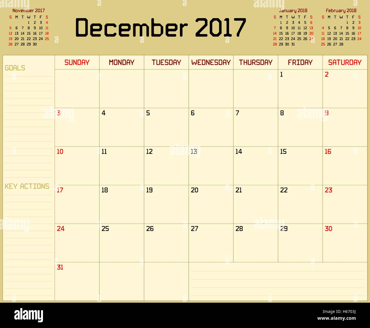 A monthly planner calendar for December 2017 on yellow ...