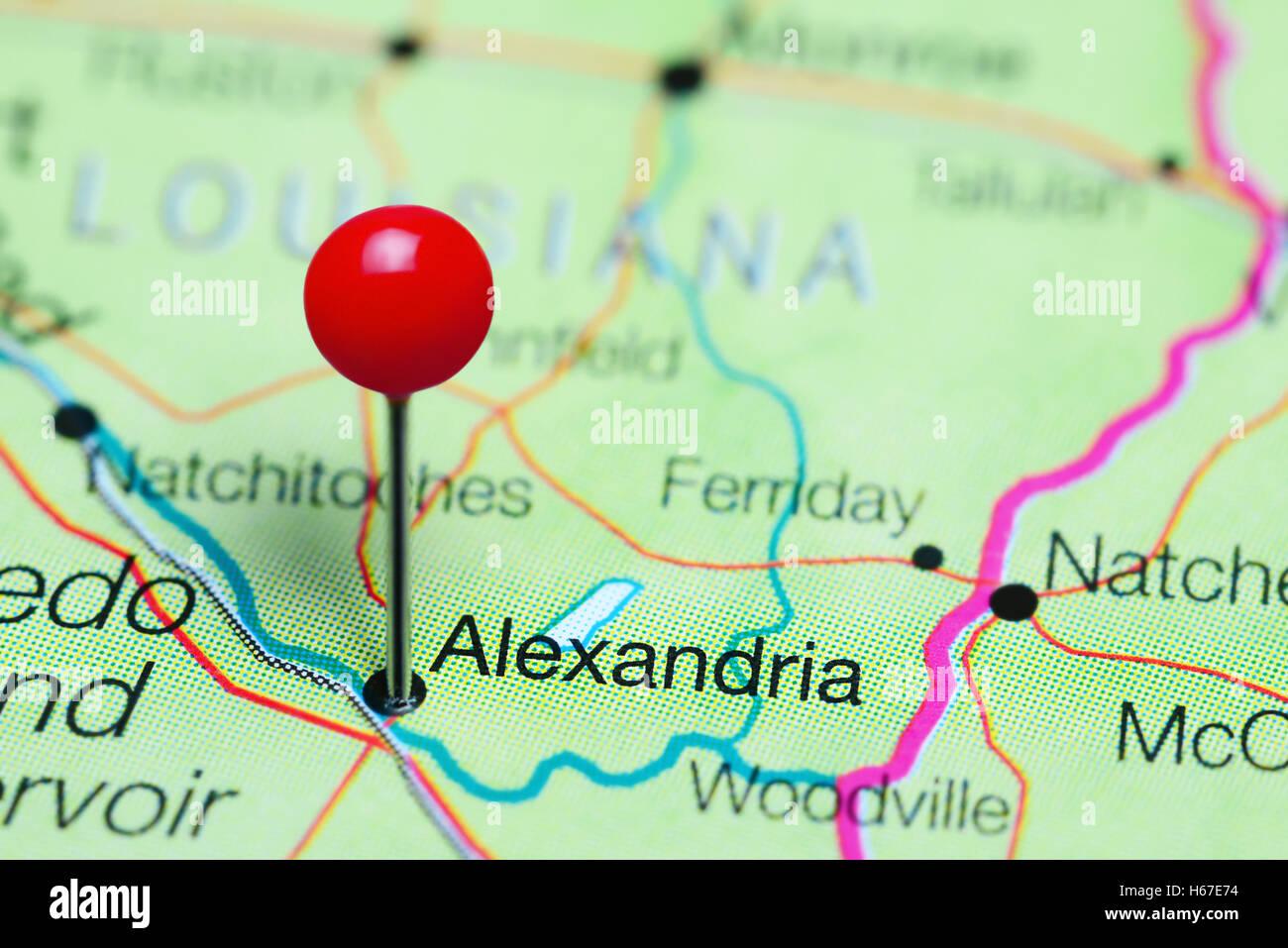 Alexandria Pinned On A Map Of Louisiana USA Stock Photo Royalty - Alexandria usa map