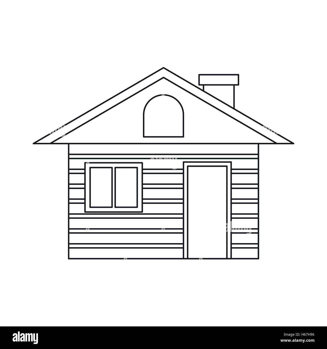 House outline picture - Stock Vector Wooden Log House Icon Outline Style