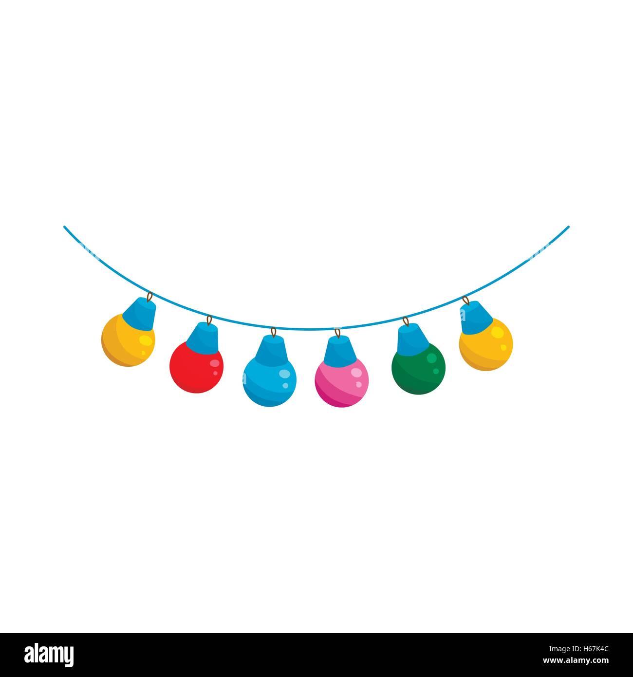Color Light Bulbs Icon Cartoon Style Stock Vector Art
