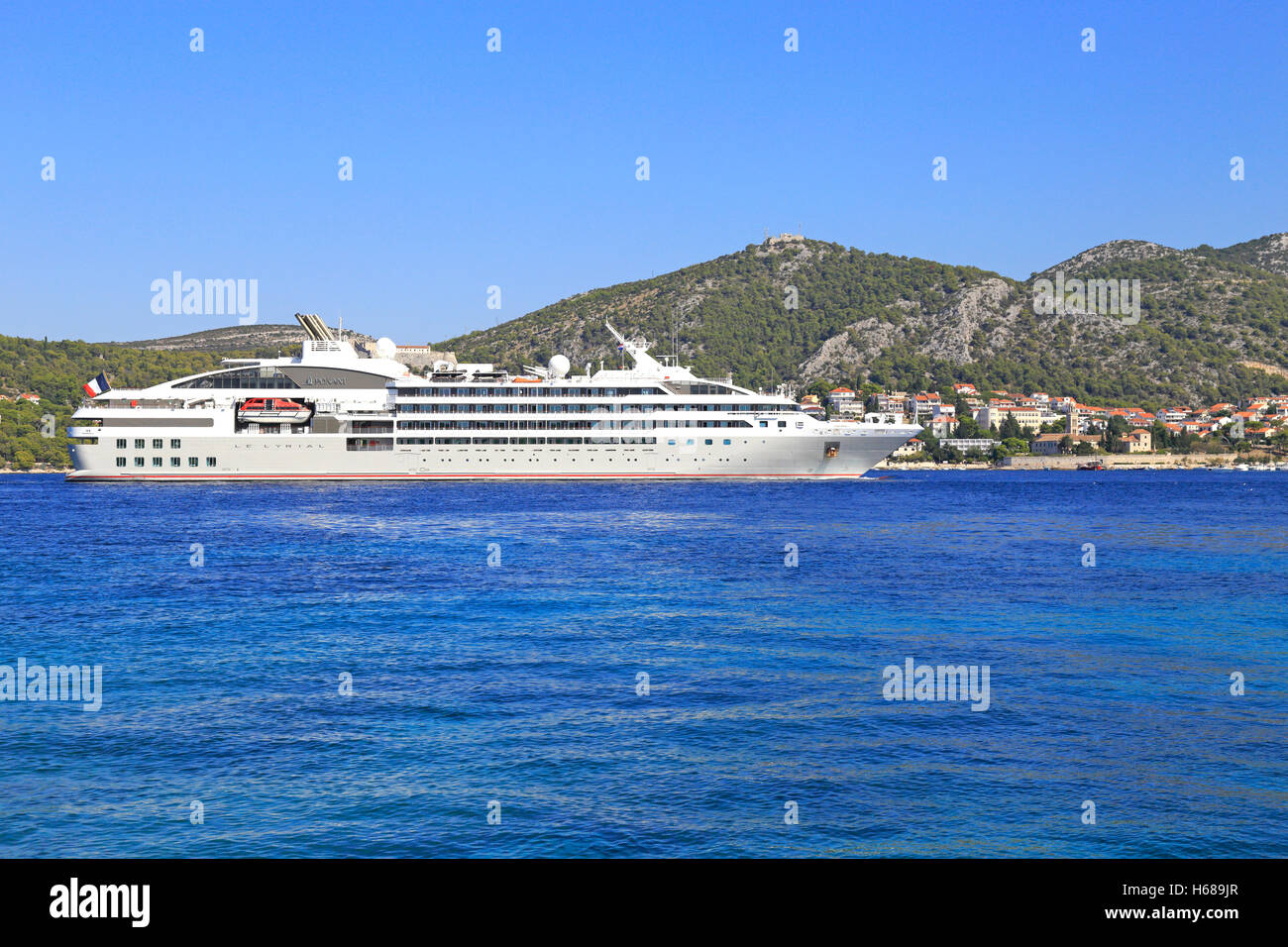 Cruise Ship Ponant Le Lyrial Passing Hvar Town Hvar Island - Small ship cruises for dalmatian coast