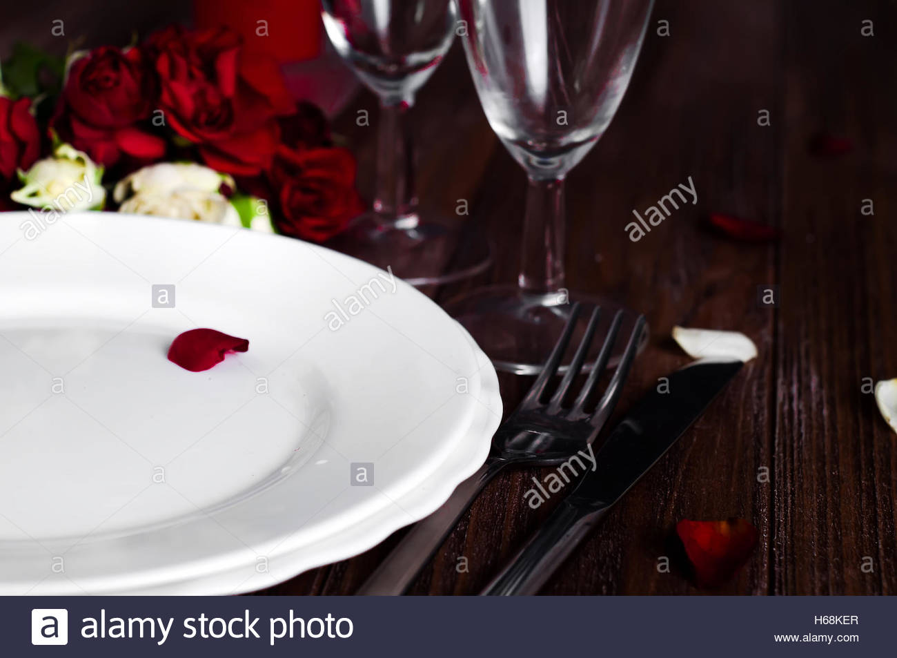 Dinner Table Background romantic valentine candle light dinner table setting with red