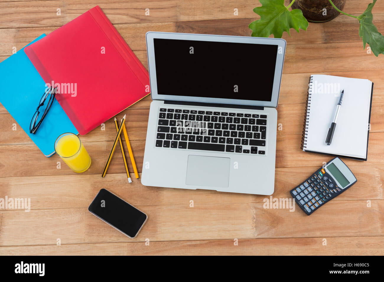 Office Accessories With Mobile Phone And Laptop