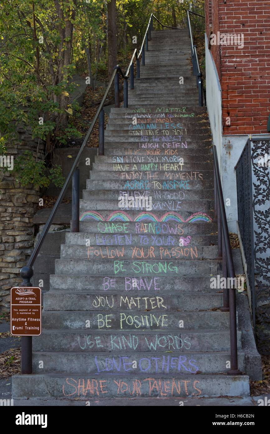 Inspirational Slogans Inspiration A Stairway With Inspirational Slogans On Each Step Stock Photo