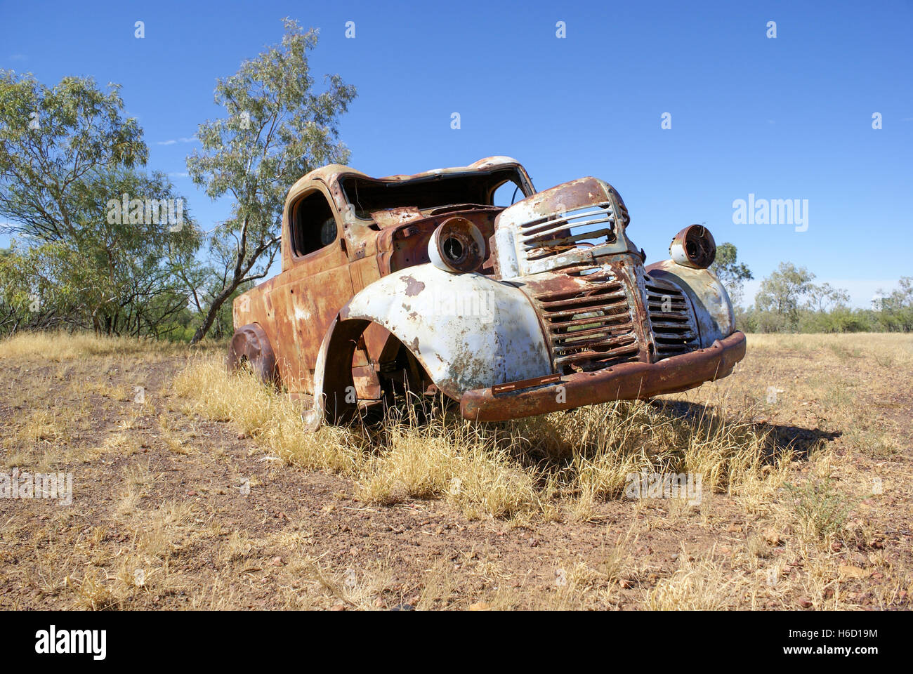 Old rusty car in outback paddock, Australia Stock Photo: 124446944 ...