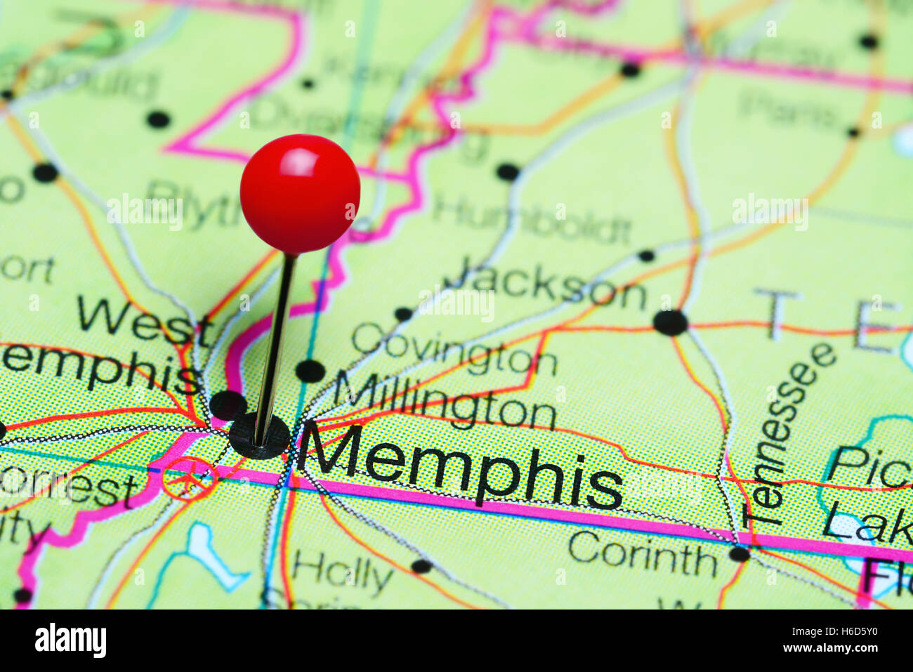 Memphis Pinned On A Map Of Tennessee USA Stock Photo Royalty - Usa map memphis