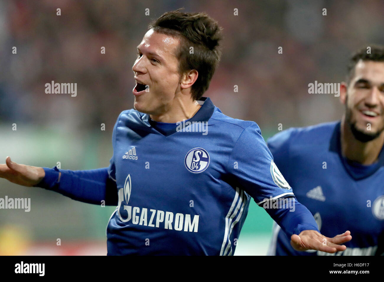 FC Schalke player Yevhen Konoplyanka celebrates after giving his