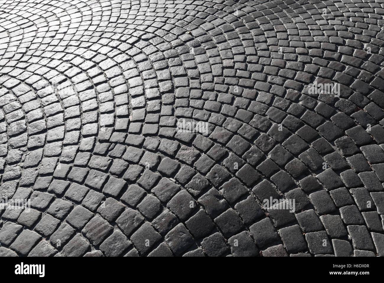Dark Shiny Cobble Road Stone Street Pavement Pattern