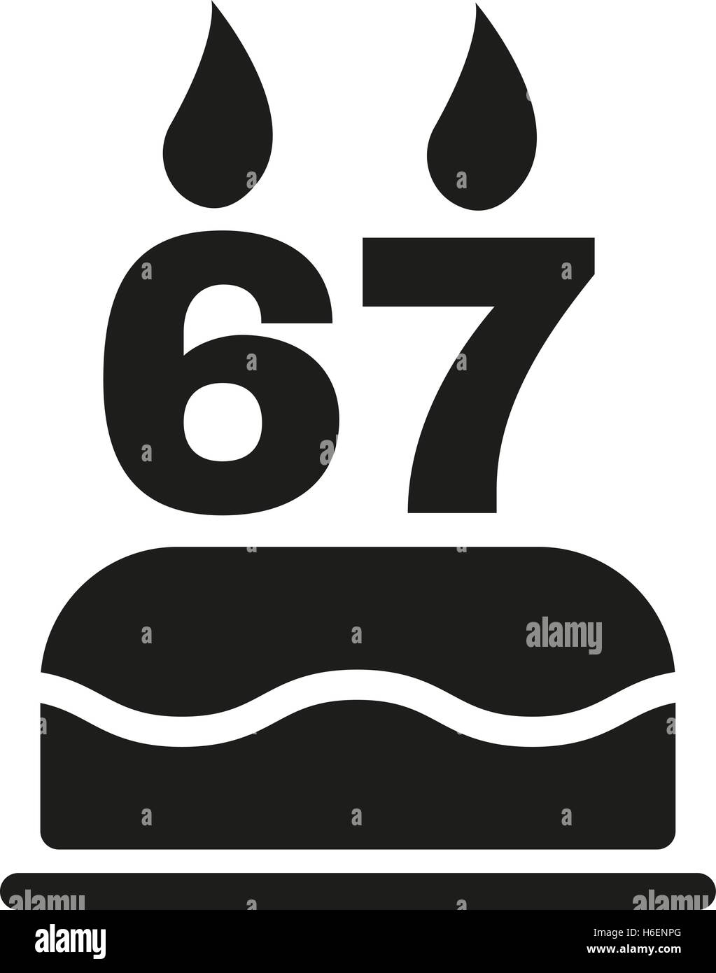 The birthday cake with candles in the form of number 67 icon stock the birthday cake with candles in the form of number 67 icon birthday symbol flat vector illustration buycottarizona