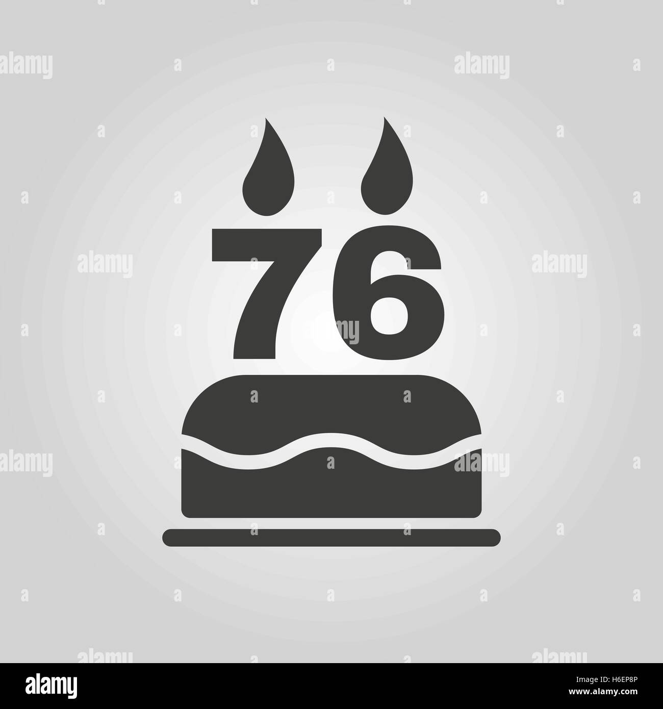 The birthday cake with candles in the form of number 76 icon stock the birthday cake with candles in the form of number 76 icon birthday symbol flat vector illustration biocorpaavc