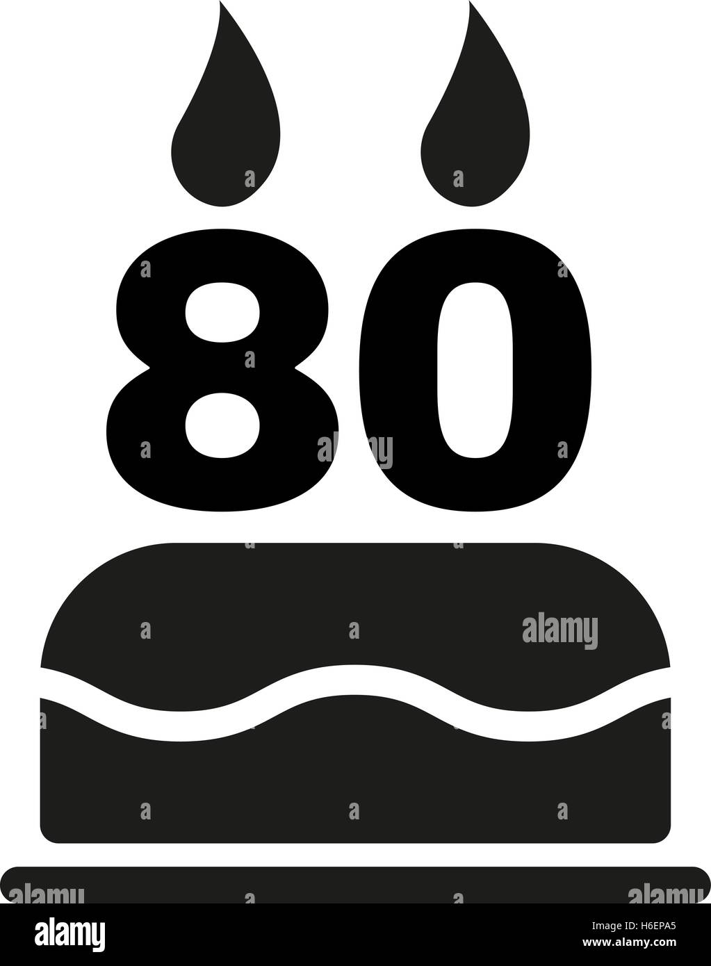 The birthday cake with candles in the form of number 80 icon stock the birthday cake with candles in the form of number 80 icon birthday symbol flat vector illustration biocorpaavc