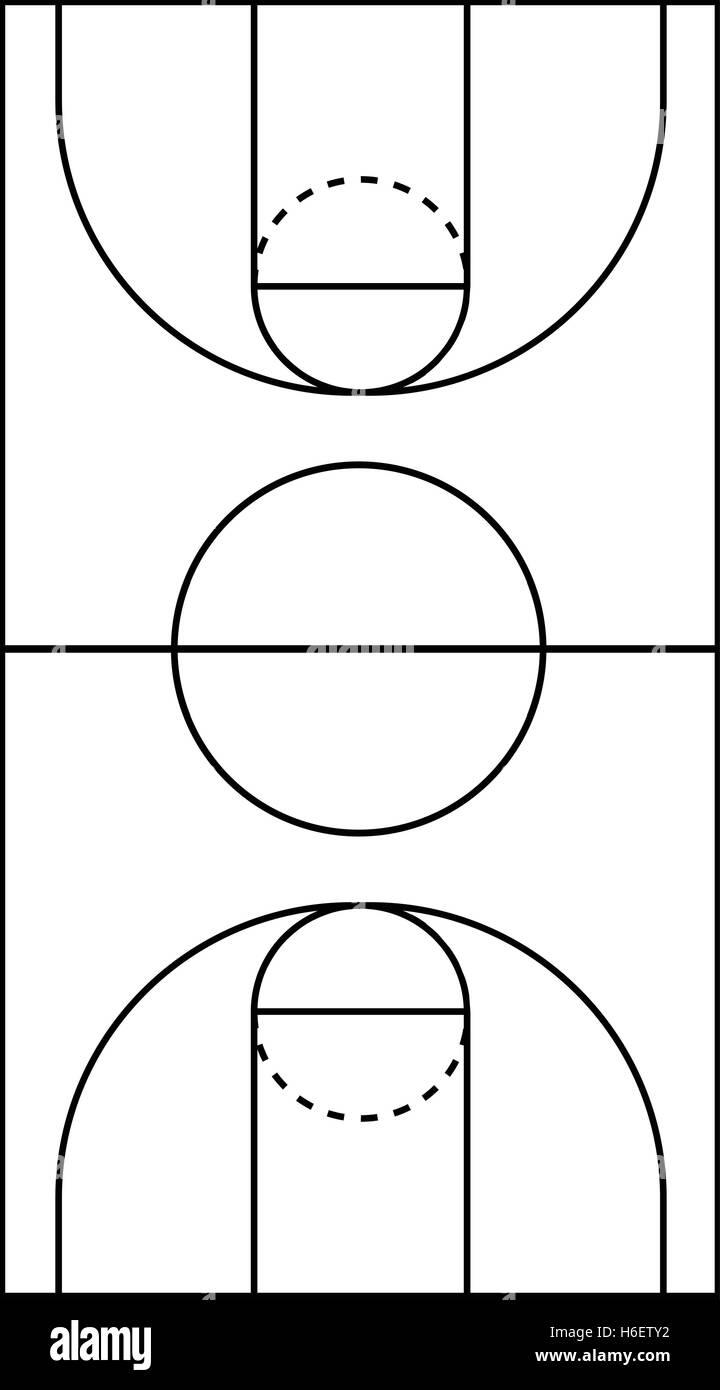 a4 size vertical basketball court line vector stock vector art illustration vector image. Black Bedroom Furniture Sets. Home Design Ideas