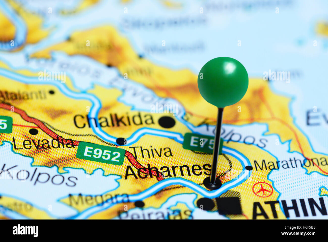 Acharnes pinned on a map of Greece Stock Photo Royalty Free Image