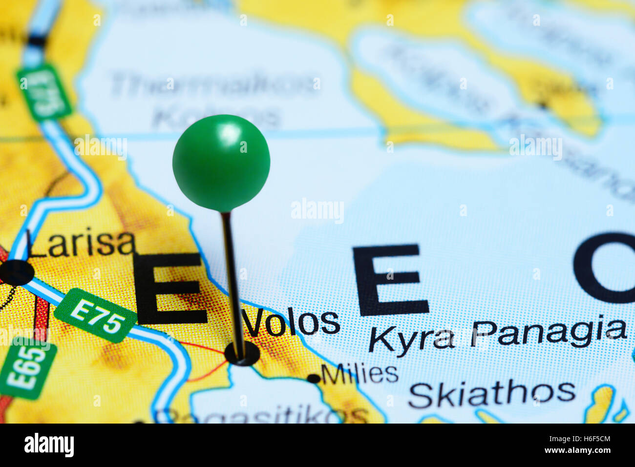Volos pinned on a map of Greece Stock Photo Royalty Free Image
