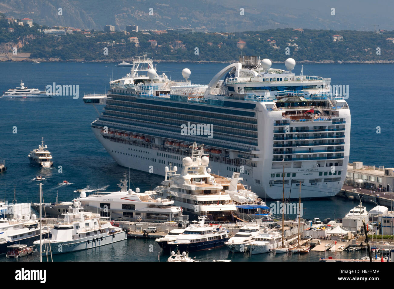 View Of The Harbor With Ruby Princess Cruise Ship Monte Carlo - Cruise ships in monaco today
