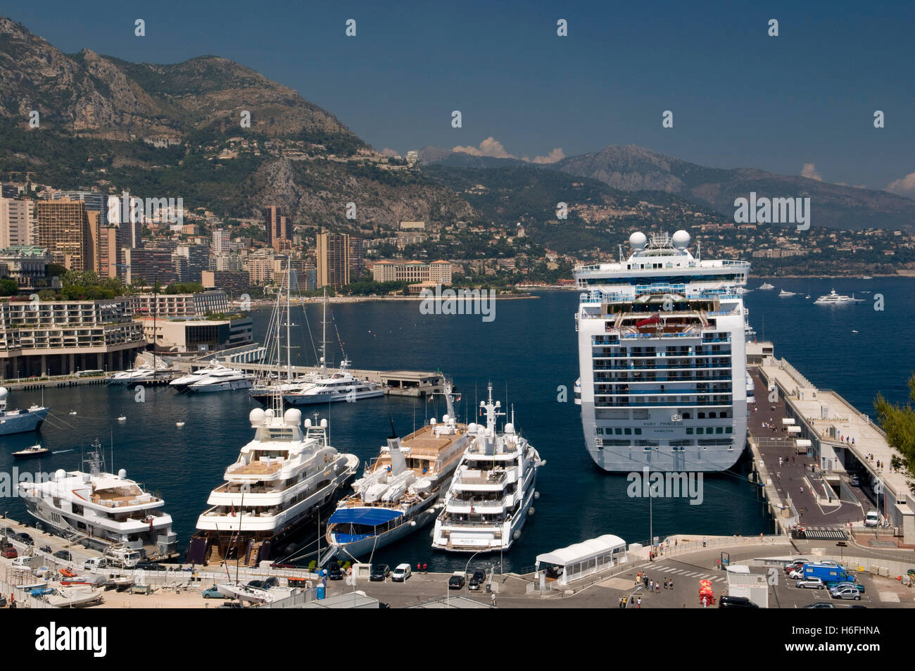 View Of The Harbor With The Ruby Princess Cruise Ship Monte Carlo - Cruise ships in monaco today