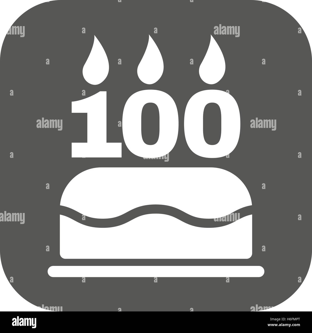 The birthday cake with candles in the form of number 100 icon stock the birthday cake with candles in the form of number 100 icon birthday symbol flat vector illustration button buycottarizona Image collections