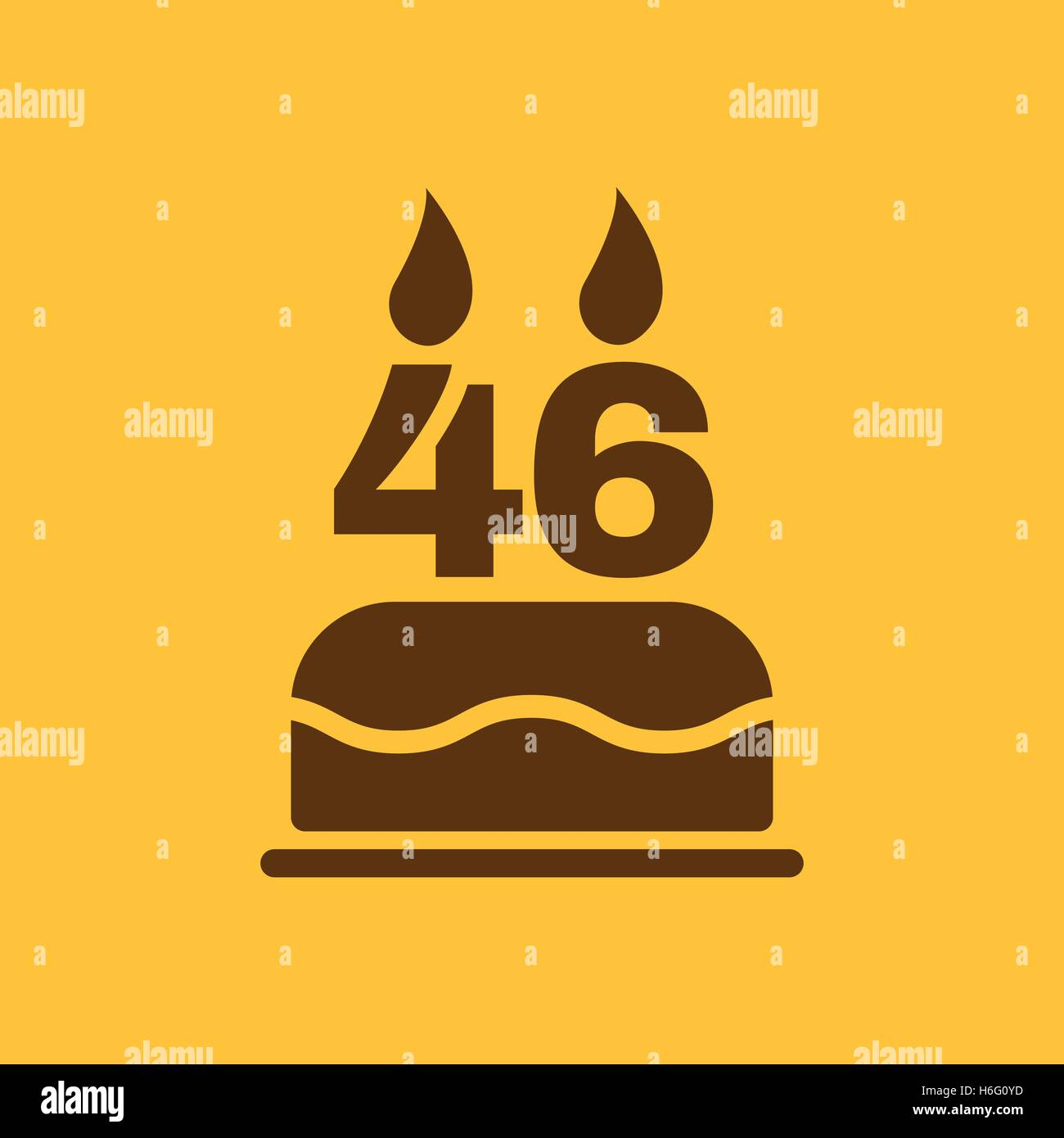 The birthday cake with candles in the form of number 46 icon stock the birthday cake with candles in the form of number 46 icon birthday symbol flat vector illustration biocorpaavc
