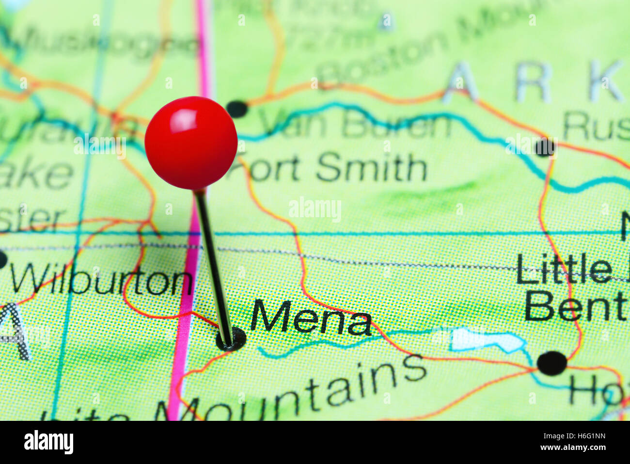 Mena Pinned On A Map Of Arkansas USA Stock Photo Royalty Free - A map of arkansas