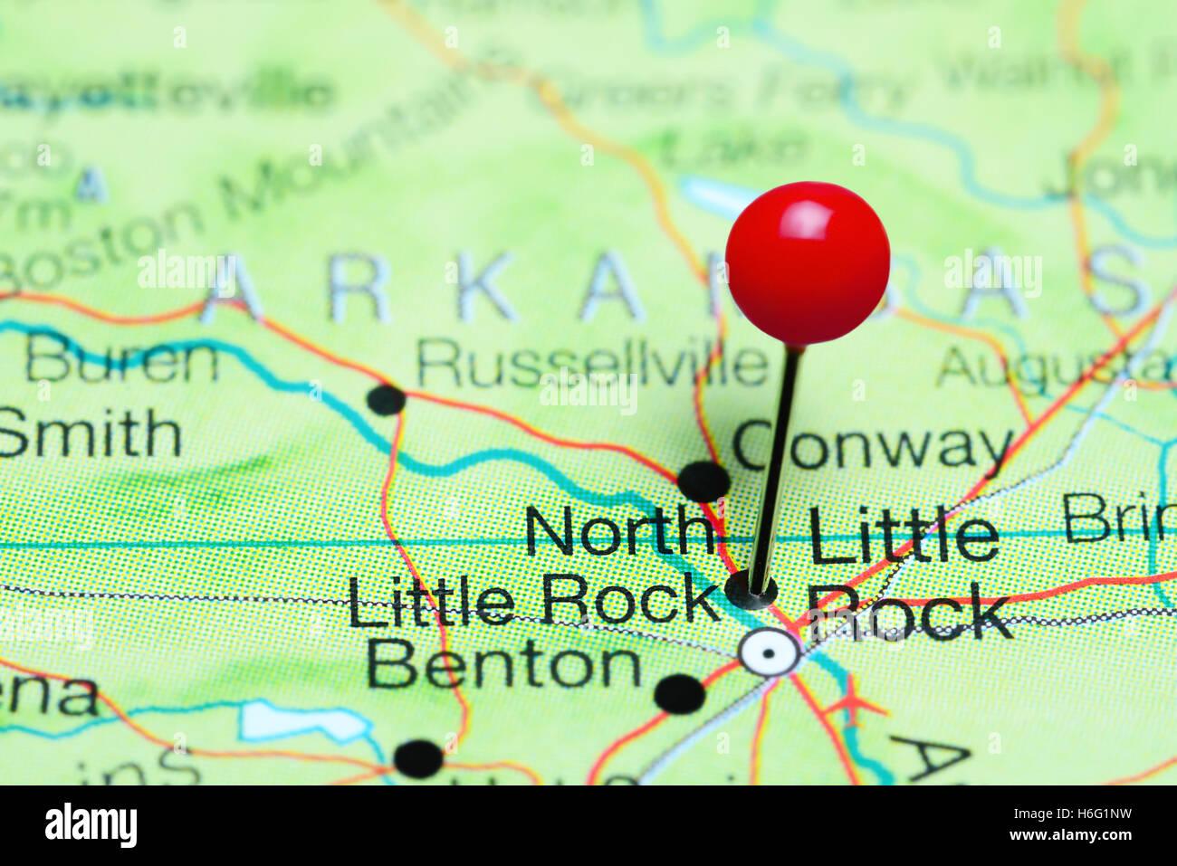 North Little Rock Pinned On A Map Of Arkansas USA Stock Photo - Map of arkansas