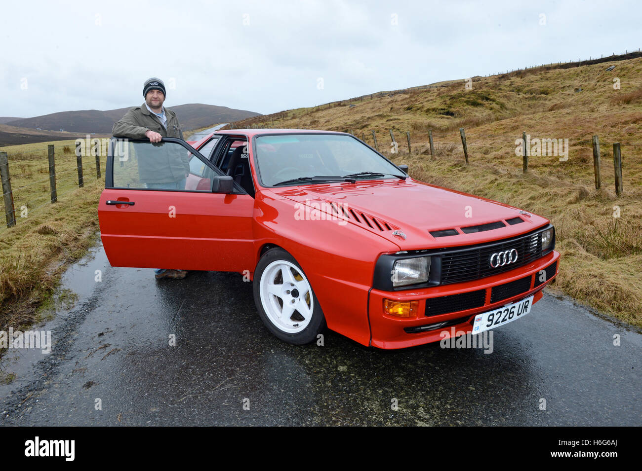 classic audi quattro rally car 2 door version stock photo, royalty