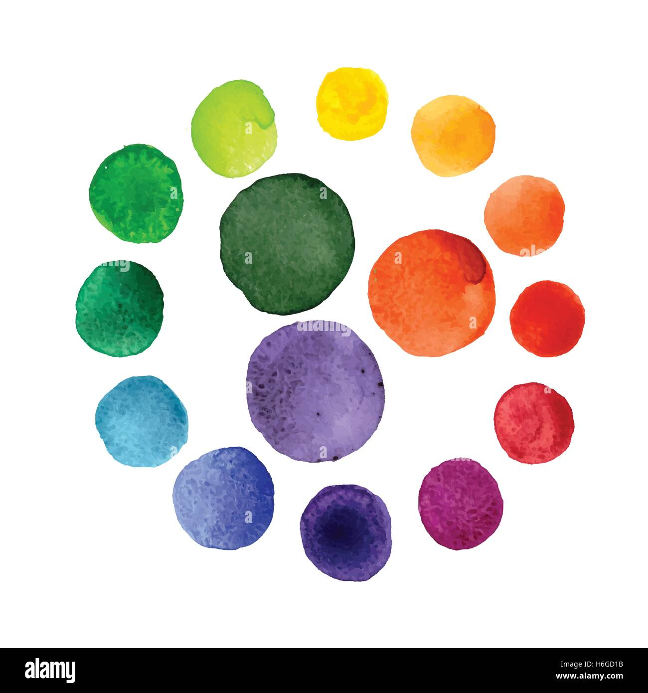 Handmade Watercolor Texture Colorful Paint Drops Color Wheel Isolated Rainbow Spectrum Spot