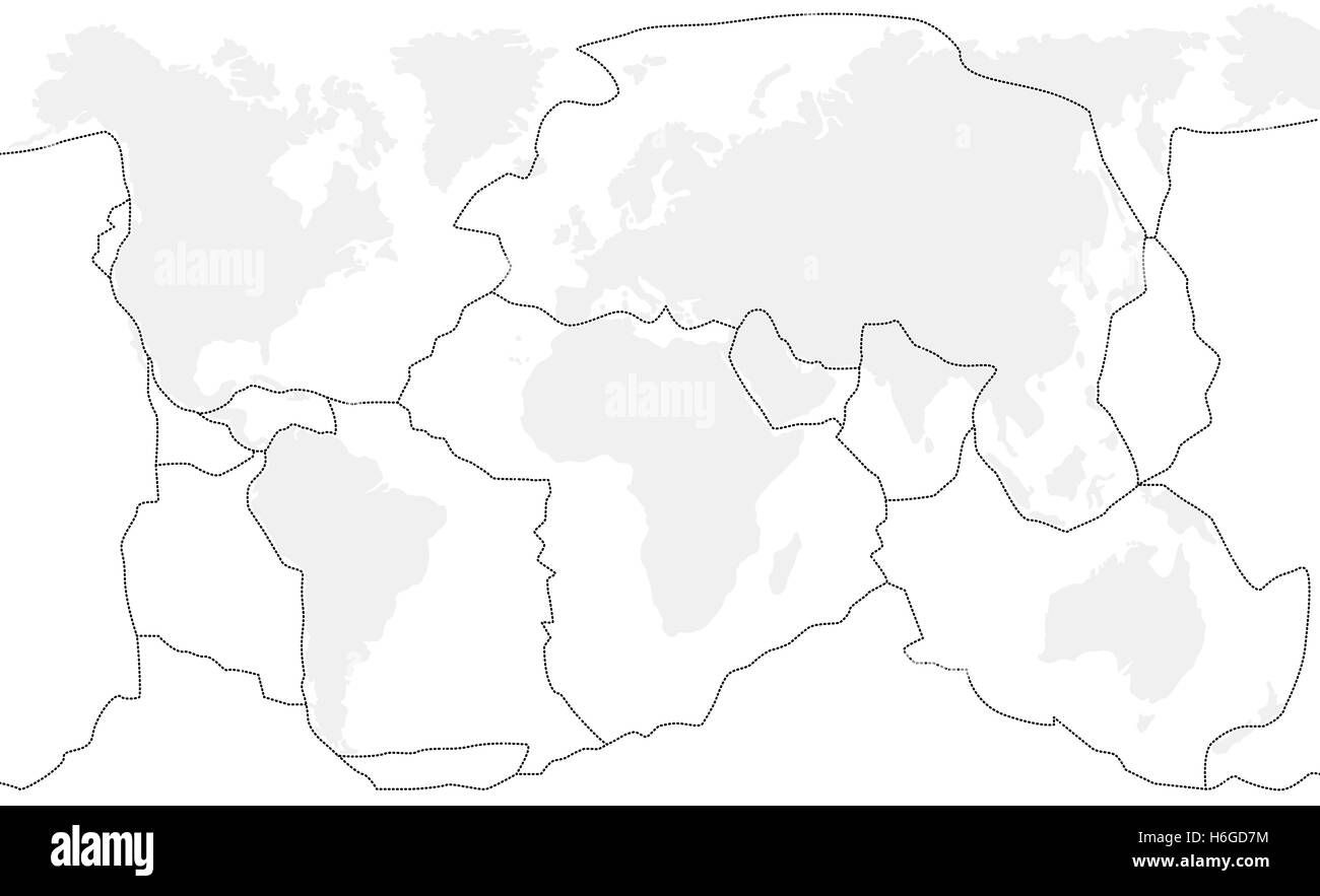 Tectonic Plates Unlabeled World Map With Fault Lines Of Major An - Unlabeled world map