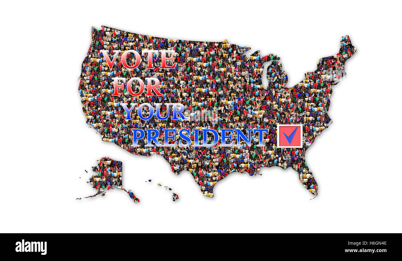 appeal to vote on presidential election with map of USA and flag
