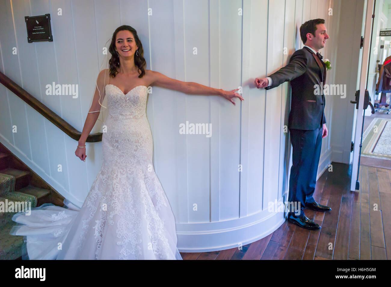 Wedding Bride Groom Before The First Look Ceremony Omni Bedford Springs Resort Spa Pennsylvania USA
