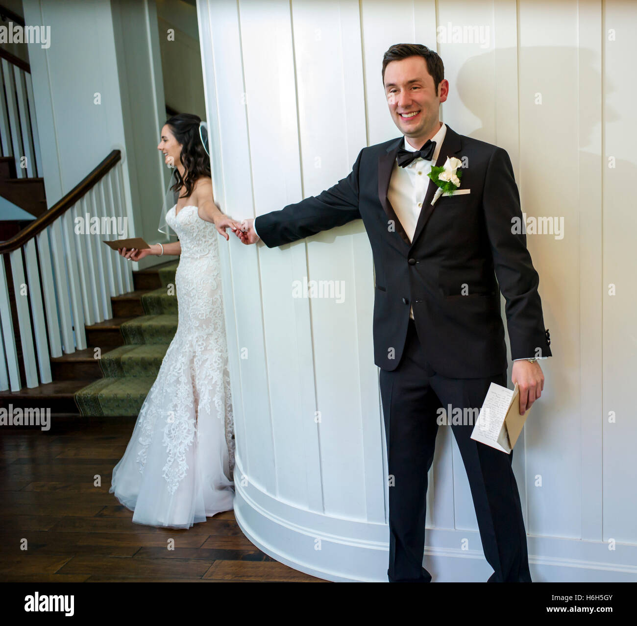 Wedding Bride Groom Reading Personal Letters Before Ceremony Omni Bedford Springs Resort Spa Pennsylvania USA