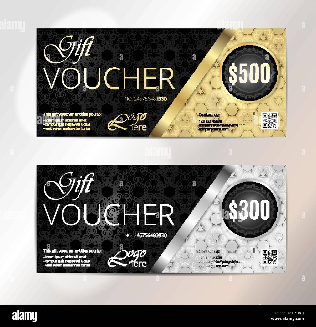 Gold VIP Club Card Voucher or gift certificate template Stock