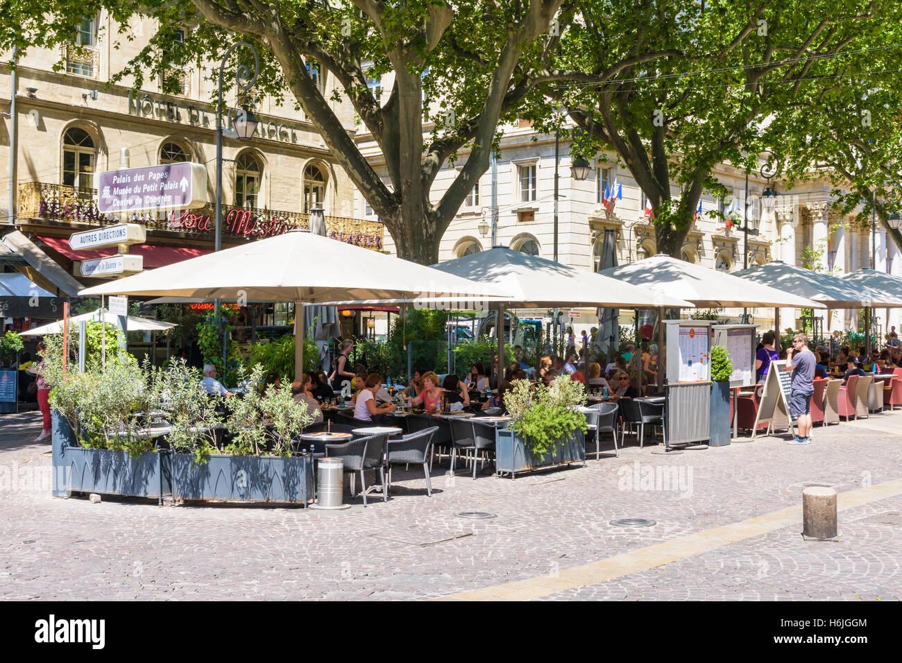 Busy Restaurants And Cafes In Place De L U0026 39 Horloge  Avignon