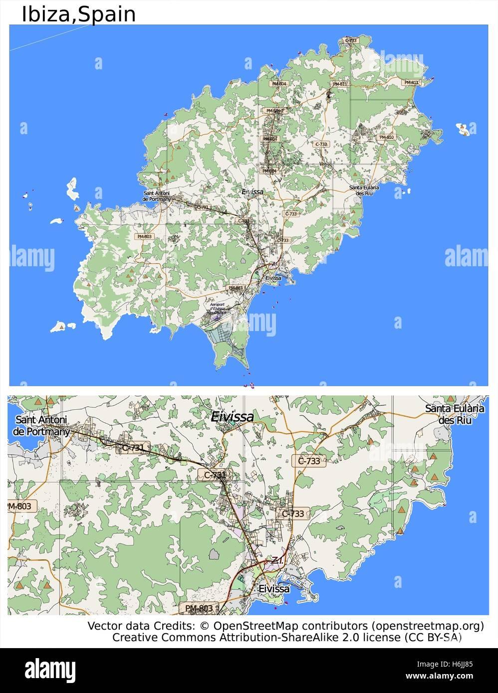 Ibiza Spain city map Stock Vector Art Illustration Vector Image