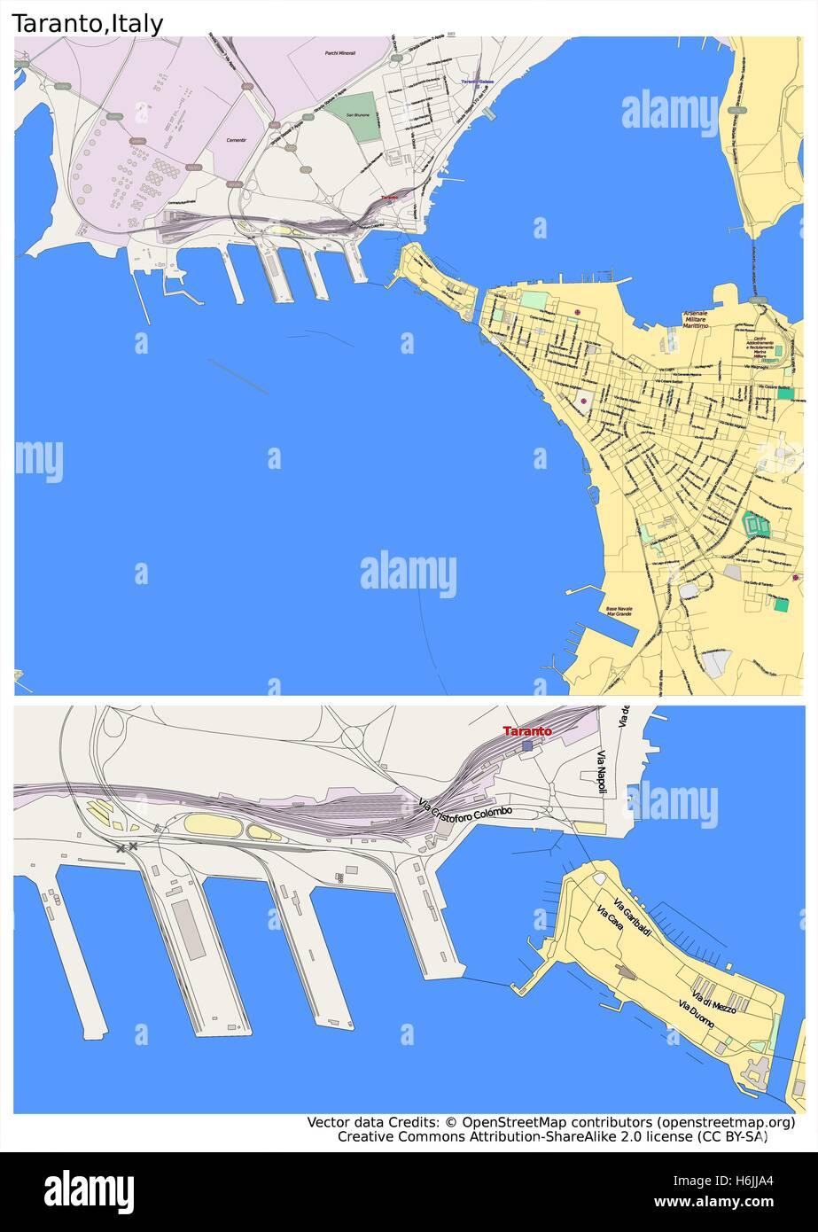 Taranto Italy city map Stock Vector Art Illustration Vector Image
