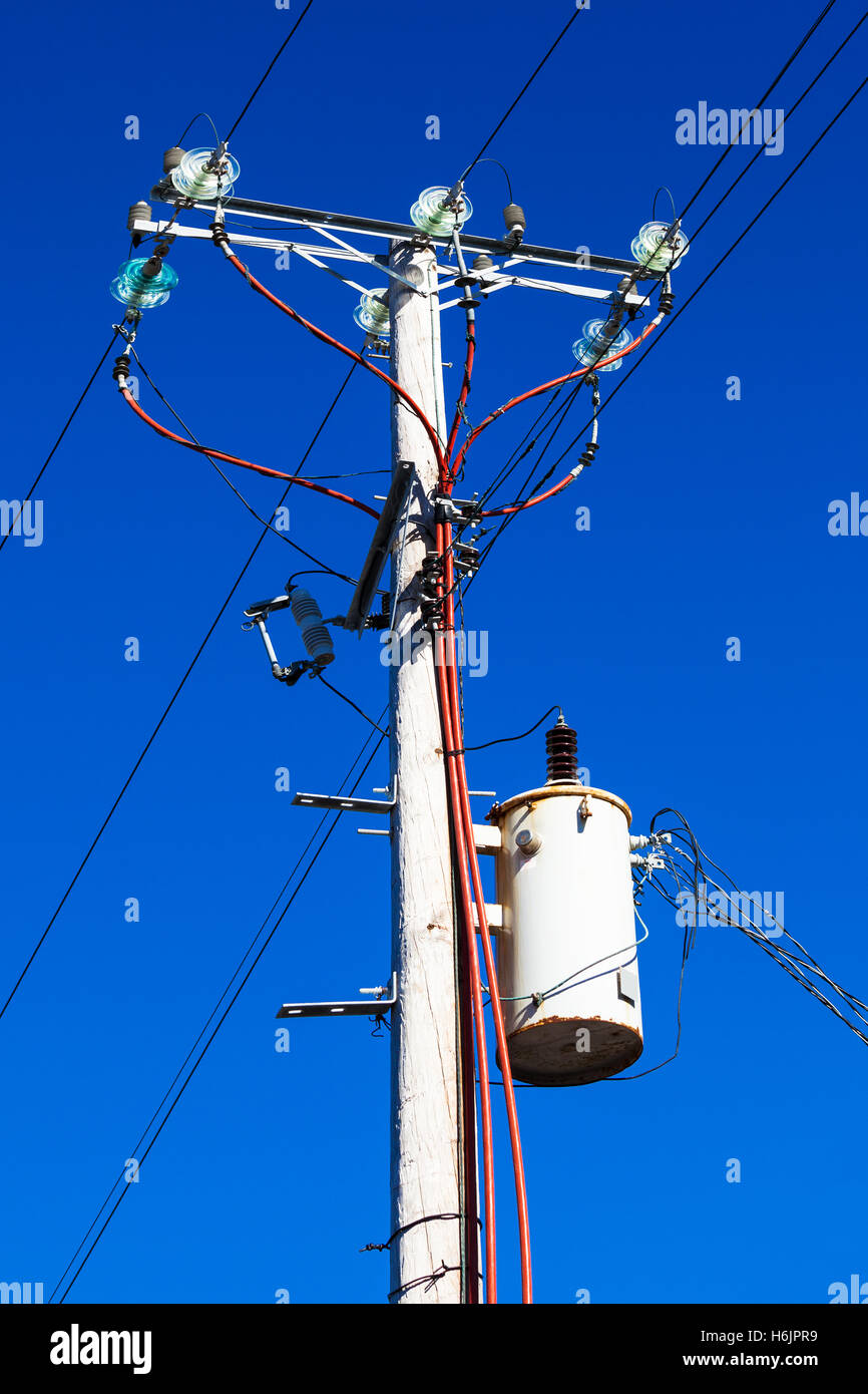 post with electrical wires in the sky Stock Photo, Royalty Free ...