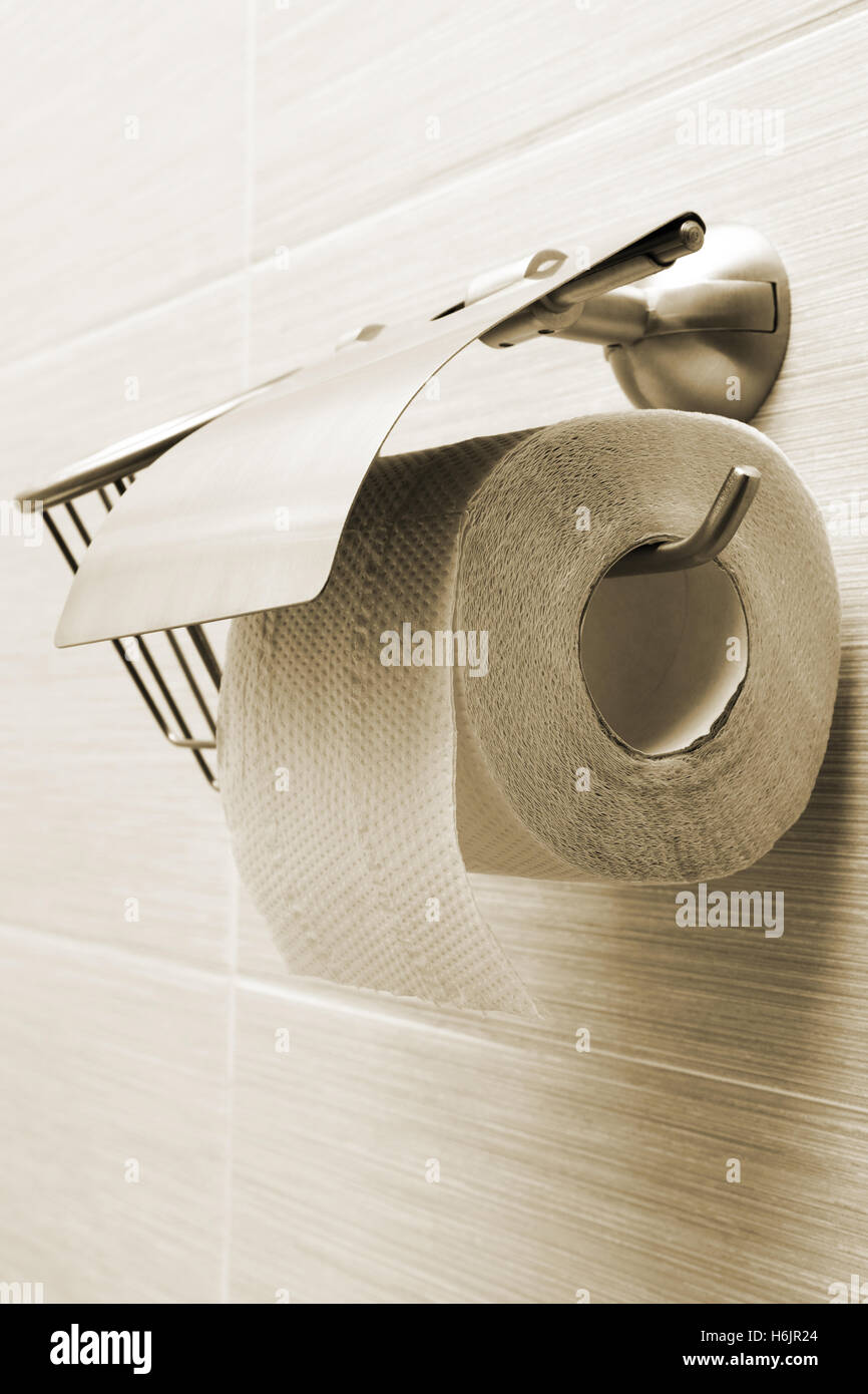 Modern bathroom toilet paper holder - Stock Photo Toilet Paper Holder In The Modern Bathroom