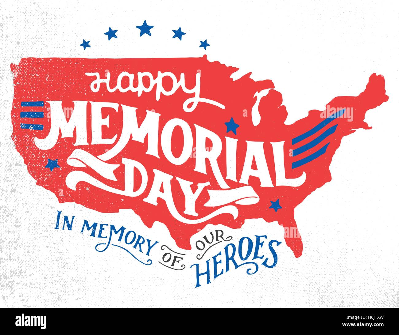 Happy Memorial Day In Memory Of Our Heroes Handlettering - Us map sketch