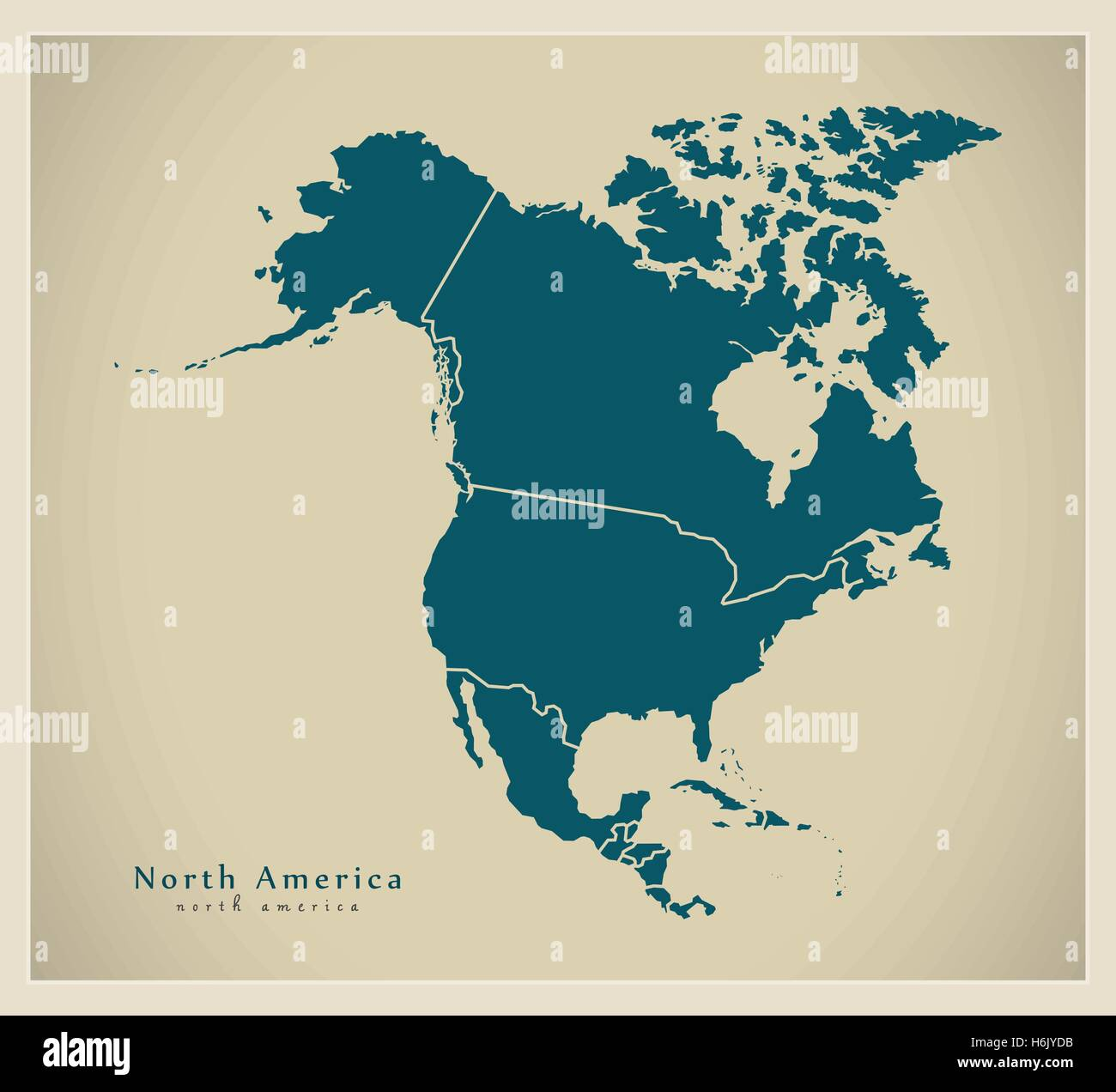 Modern Map  North America Map with countries complete Stock