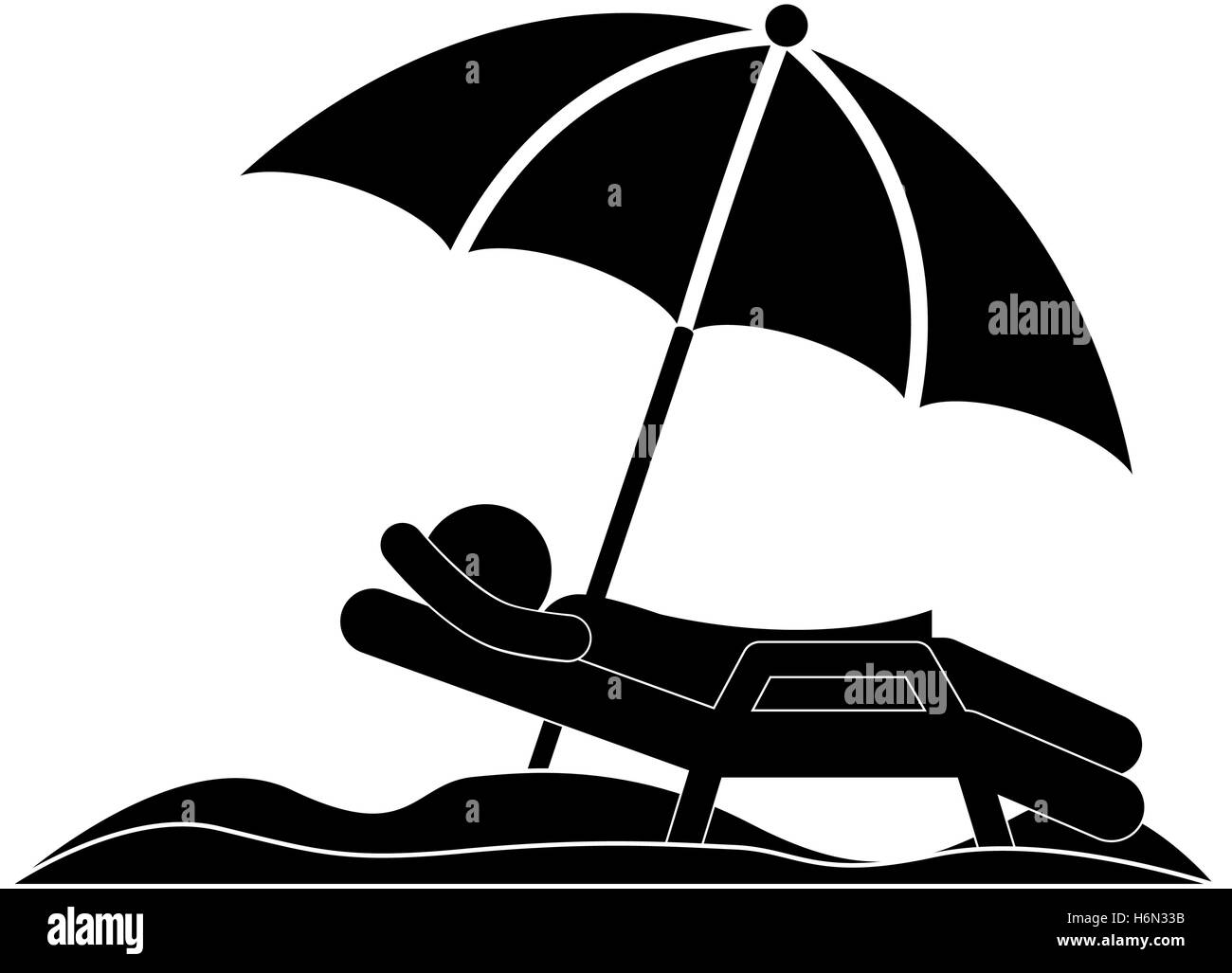 Beach chair and umbrella black and white - Stock Vector Silhouette Person In Beach Chair With Umbrella Vector Illustration