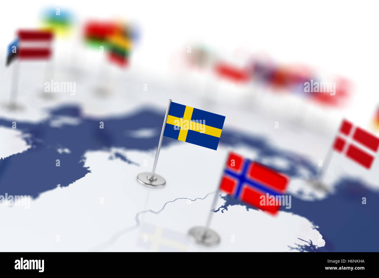 Sweden Flag In The Focus Europe Map With Countries Flags Shallow - Sweden map 3d
