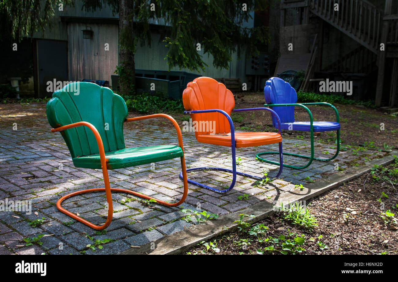 Colorful vintage chairs, lawn garden furniture, New Jersey, USA - Colorful Vintage Chairs, Lawn Garden Furniture, New Jersey, USA