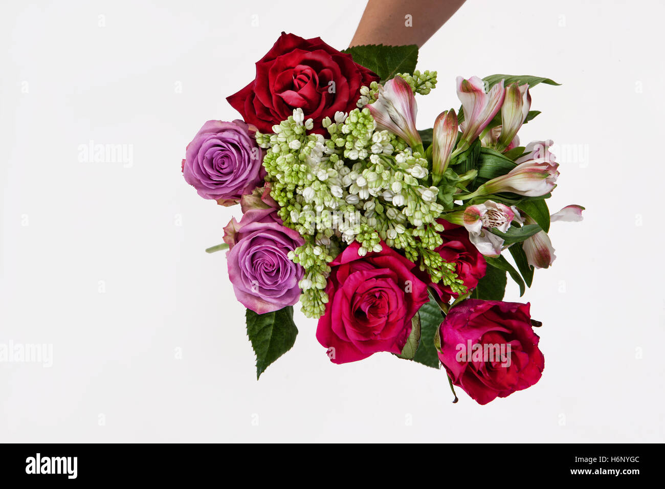 Hand holding a bouquet of different flowers on an isolated studio hand holding a bouquet of different flowers on an isolated studio background izmirmasajfo