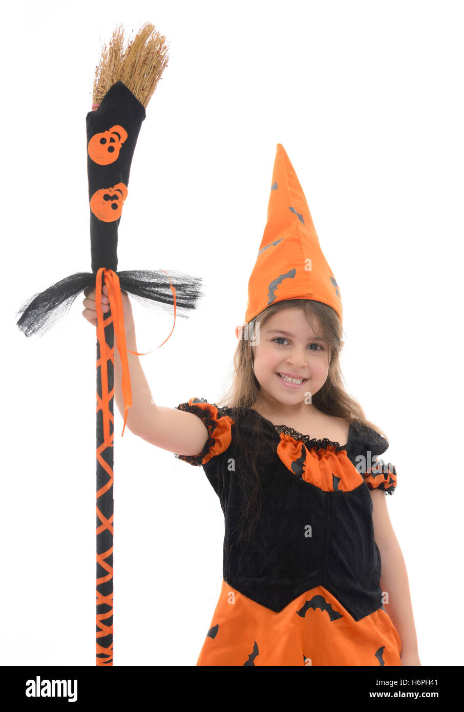 Beautiful Happy Witch Girl With Broom Isolated on White Background ...
