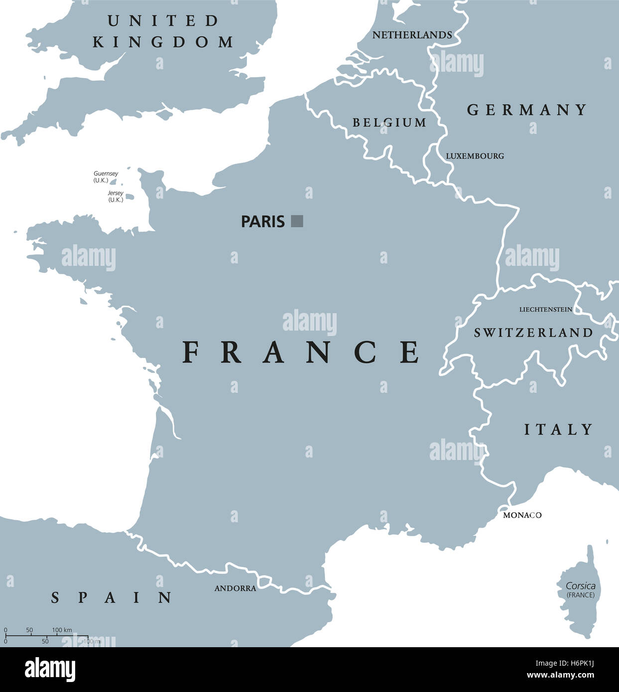 France Political Map With Capital Paris Corsica National Borders - Germany map neighbouring countries