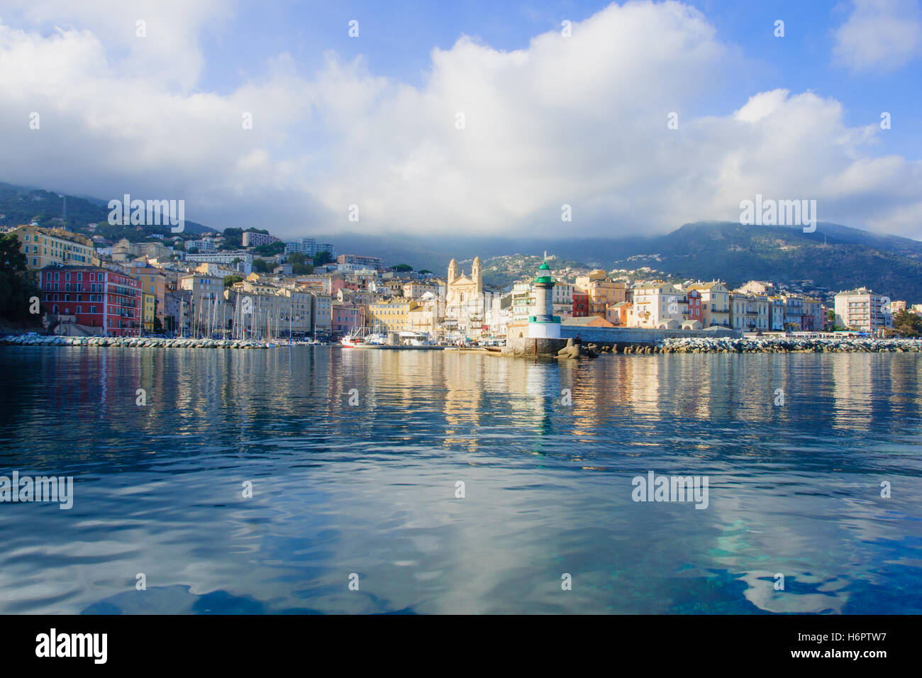 Cafe in the vieux port terra vecchia bastia corsica france stock - Stock Photo The Old Port The Vieux Port In Bastia Corsica France